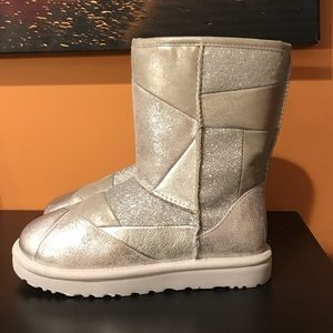 UGG Classic Glitter Patchwork Silver Shoes